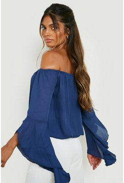 Navy Fluted Frill Sleeve Off The Shoulder Top