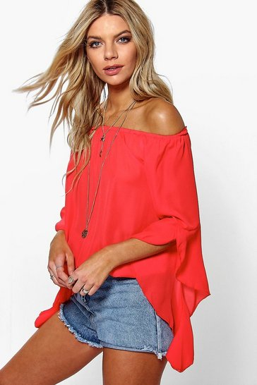 Poppy red Fluted Frill Sleeve Off The Shoulder Top