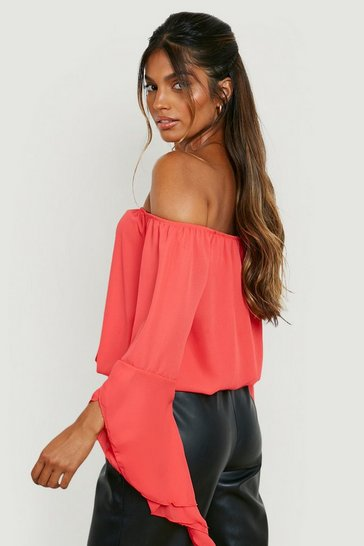 Poppy red Red Fluted Frill Sleeve Off The Shoulder Top