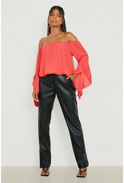 Poppy Fluted Frill Sleeve Off The Shoulder Top