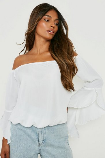White Fluted Frill Sleeve Off The Shoulder Top