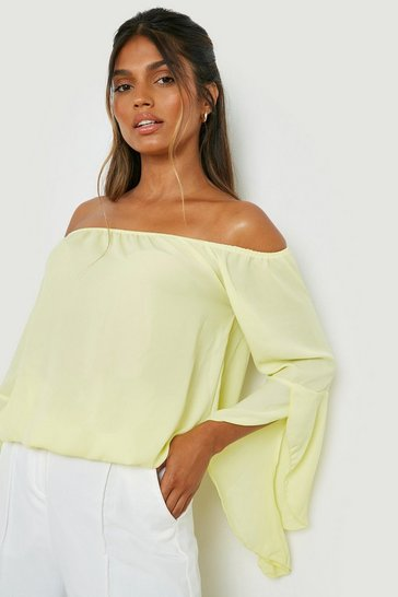 Yellow Fluted Frill Sleeve Off The Shoulder Top