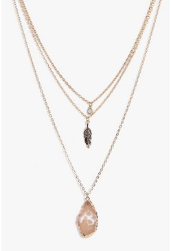 Gold metallic Isobel Crystal Pendant Layered Necklace