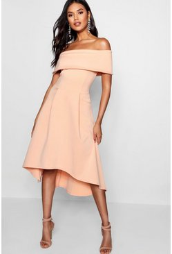 Apricot nude Off The Shoulder Dip Hem Skater Dress