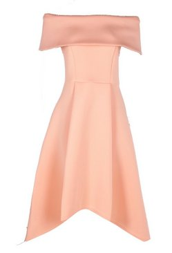 Apricot Off The Shoulder Dip Hem Skater Dress