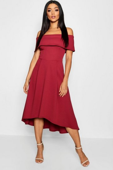 Berry red Off The Shoulder Dip Hem Skater Dress
