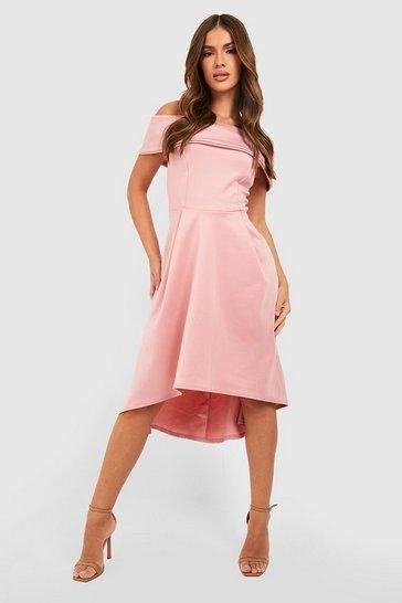 Blush pink Off The Shoulder Dip Hem Skater Dress