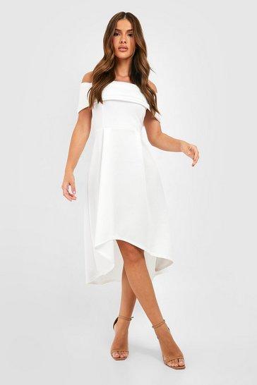 Ivory white Off The Shoulder Dip Hem Skater Dress