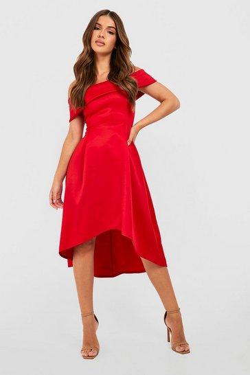 Red Off The Shoulder Dip Hem Skater Dress