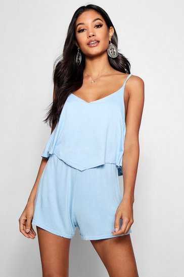 Baby blue blue Strappy Cami Overlay Playsuit
