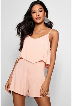 Blush pink Strappy Cami Overlay Playsuit