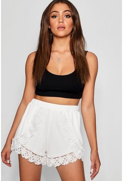 Cream white Crochet Trim Running Shorts