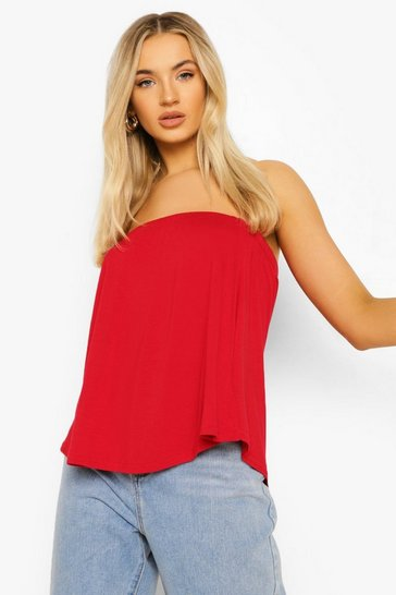 Red Basic Swing Tube Bandeau Top