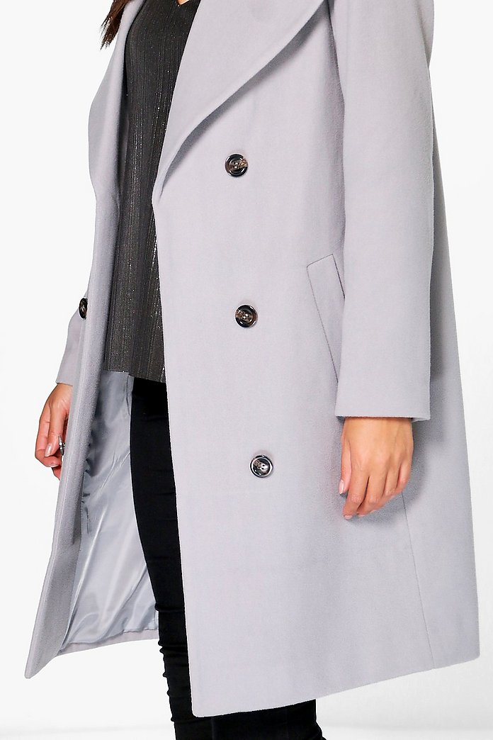 Oversized Collar Double Breasted Coat | Boohoo UK