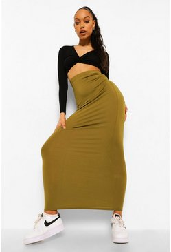 Dark olive green Basic Jersey Maxi Skirt