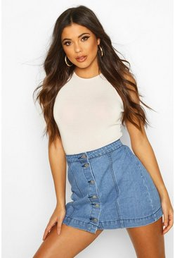 Blue Western Style Button Though Denim Skirt