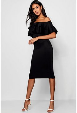 Black Off The Shoulder Layered Frill Detail Midi Dress
