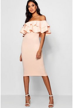 Blush pink Bardot Layered Frill Detail Midi Dress