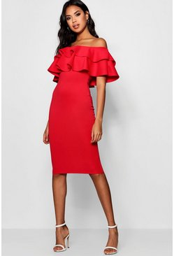 Red Bardot Layered Frill Detail Midi Dress