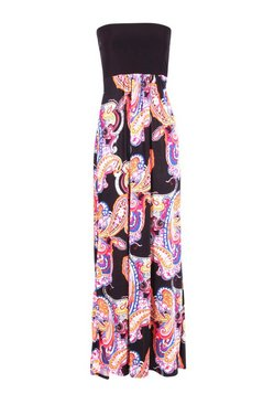 Black Bandeau Paisley Maxi Dress