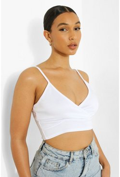 Wit white Scuba Plunge Cross Bralet
