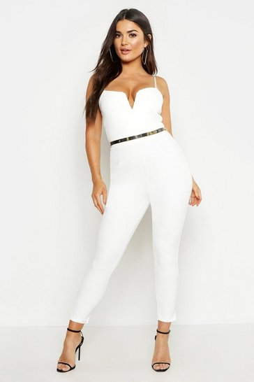 Ivory white Plunge Belted Jumpsuit