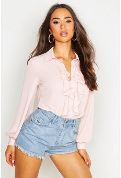 Blush pink Ruffle Detail Blouse