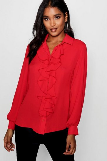 Red Ruffle Detail Blouse