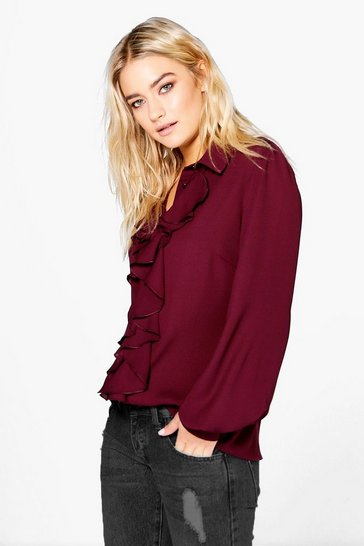 Wine red Red Ruffle Detail Blouse