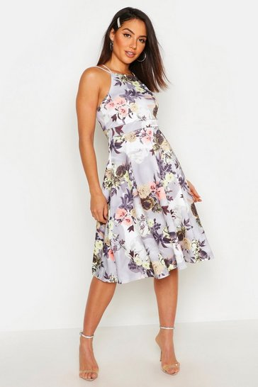 Grey Floral Print Strappy Full Skater Dress