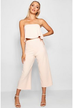 Blush pink Bandeau Top And Culottes Co-Ord Set