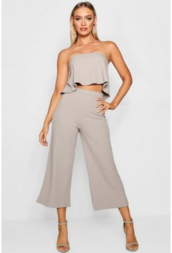 Grey Tube Top & Culottes Two-Piece Set