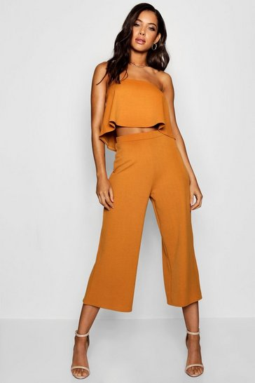 Mustard yellow Bandeau Top And Culottes Co-Ord Set