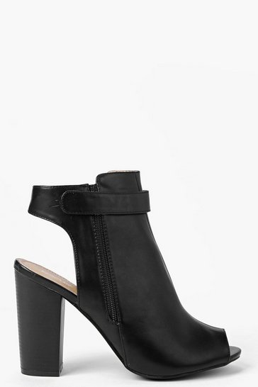 Black Rosie Peeptoe Open Back Heeled Shoe Boot