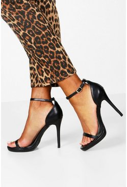 Black Barely There Single Platform Two Part Heels