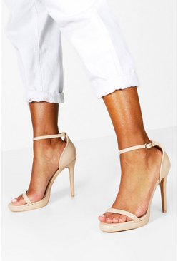 Nude Barely There Single Platform Two Part Heels