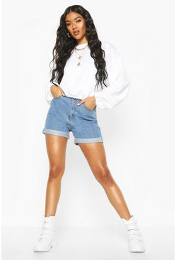 Mid blue blue High Rise Denim Mom Shorts