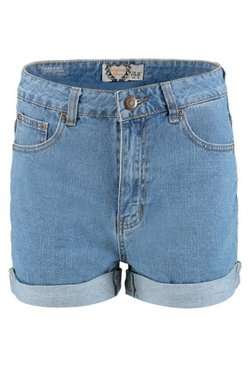 Mid blue High Rise Denim Mom Shorts