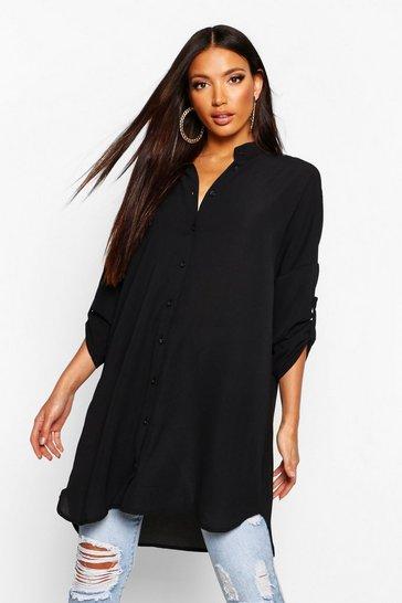 Black Longline Oversized Sleeve Shirt