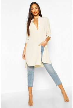 Cream white Longline Oversized Sleeve Shirt