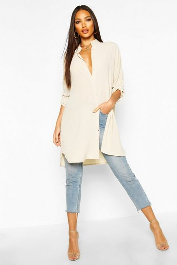 Cream Longline Oversized Sleeve Shirt