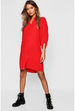 Red Longline Oversized Sleeve Shirt