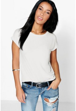 Cream white Boxy Turn Cuff Basic T-Shirt