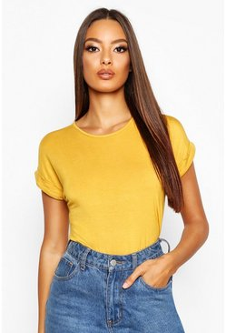 Mustard yellow Boxy Turn Cuff Basic T-Shirt