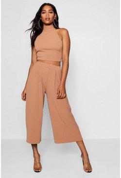Camel beige High Neck Crop and Culotte Co-Ord Set
