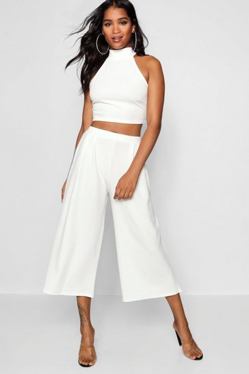 Ivory white High Neck Crop and Culotte Co-Ord Set