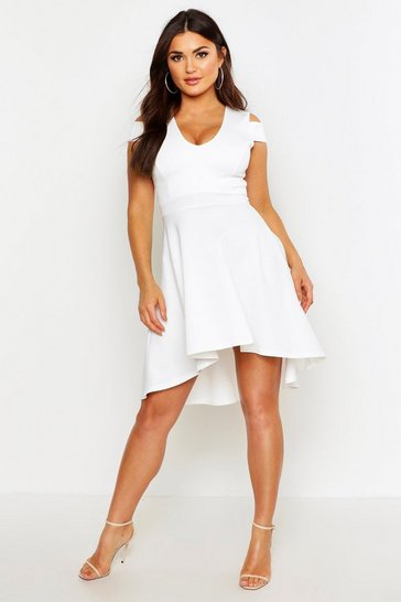 Ivory white Bardot Plunge High Low Skater Dress