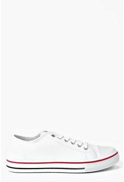 White Lace Up Canvas Flat Sneakers