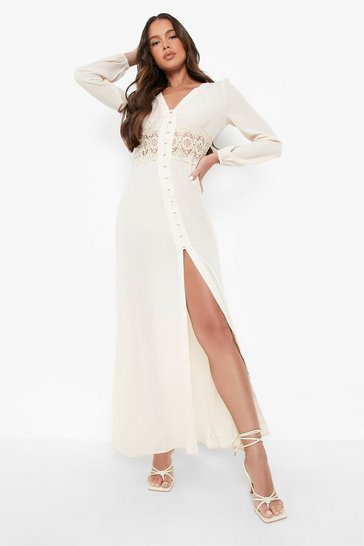 Ecru Lace Waist Button Maxi Dress
