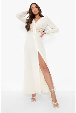 Ecru white Lace Waist Button Maxi Dress